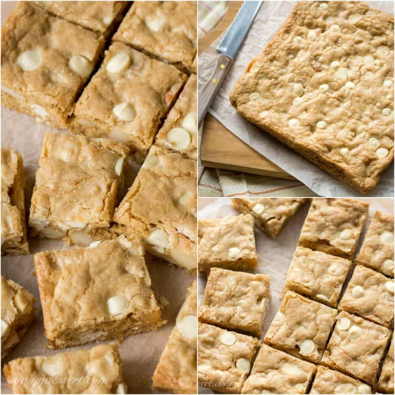 Chewy Coconut Rum Blondies with White Chocolate Chips and toasted Macadamia Nuts