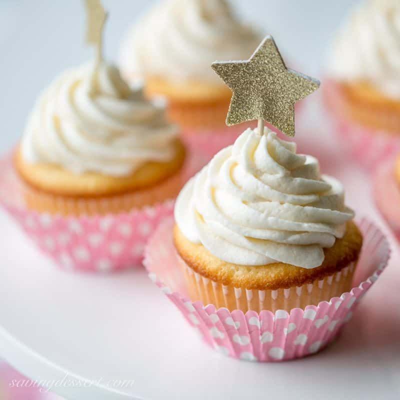 Tender White Cupcakes with Whipped Vanilla Buttercream