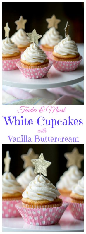 Tender White Cupcakes with Whipped Vanilla Buttercream | www.savingdessert.com |