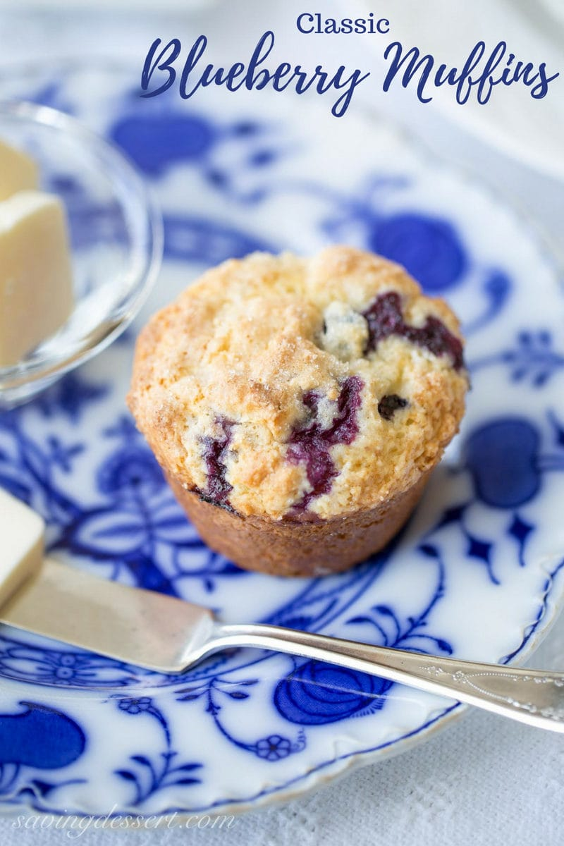 A classic blueberry muffin with a crispy top