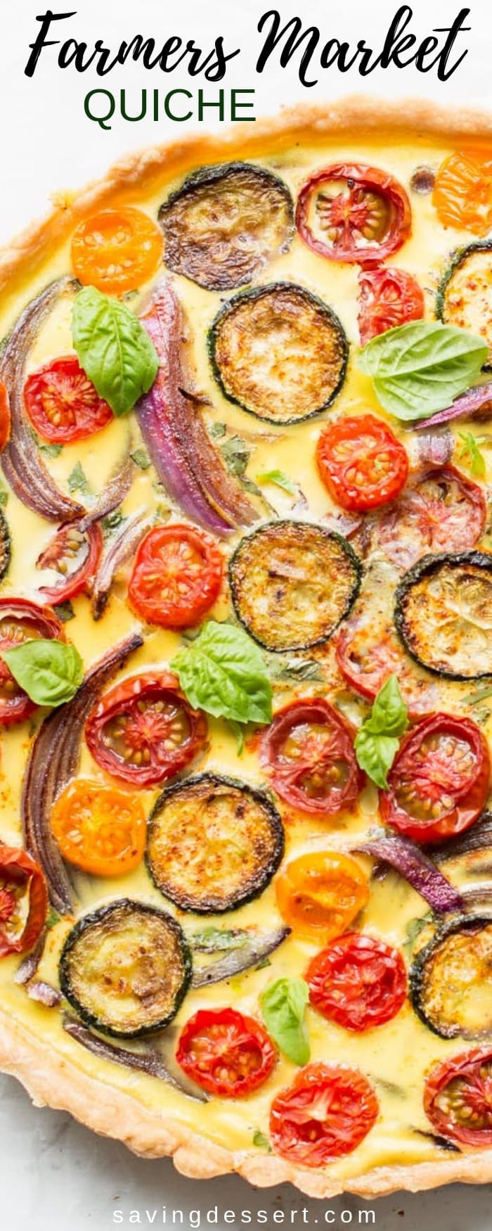 Farmers' Market Quiche - A tasty, fresh vegetable quiche filled with zucchini, onions, tomatoes and cheese. A wonderful addition to your brunch table! #savingroomfordessert #quiche #vegetablequiche #breakfast #brunch #piepastry #farmersmarketquiche