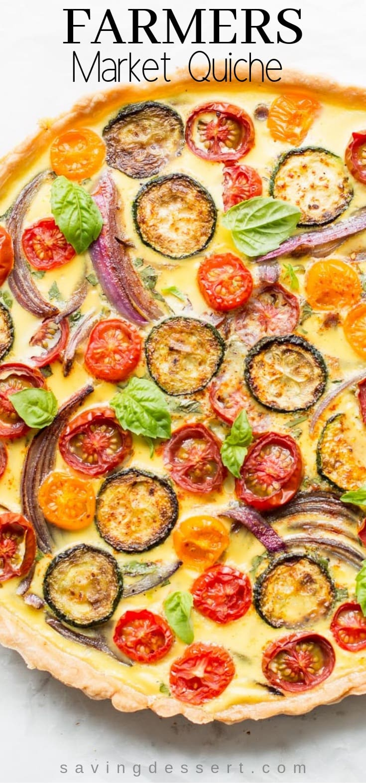 Farmers' Market Quiche - A tasty, fresh vegetable quiche filled with zucchini, onions, tomatoes and cheese. #quiche #vegetablequiche #breakfast #brunch #piepastry #farmersmarketquiche