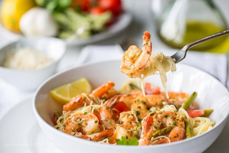 Shrimp Scampi with Asparagus and Tomatoes-5