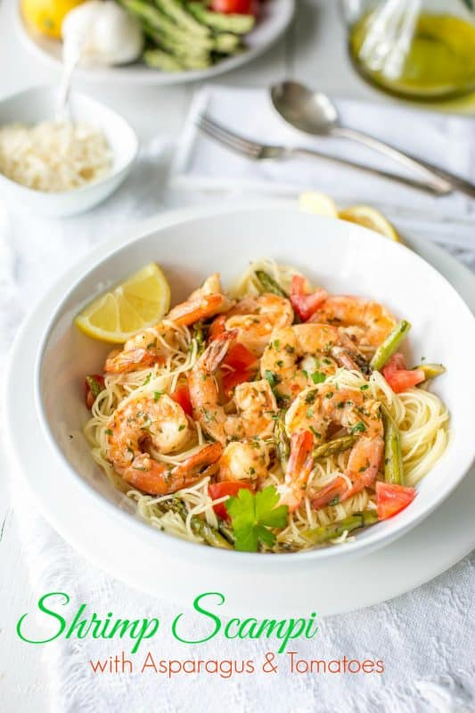 Shrimp Scampi with Asparagus and Tomatoes
