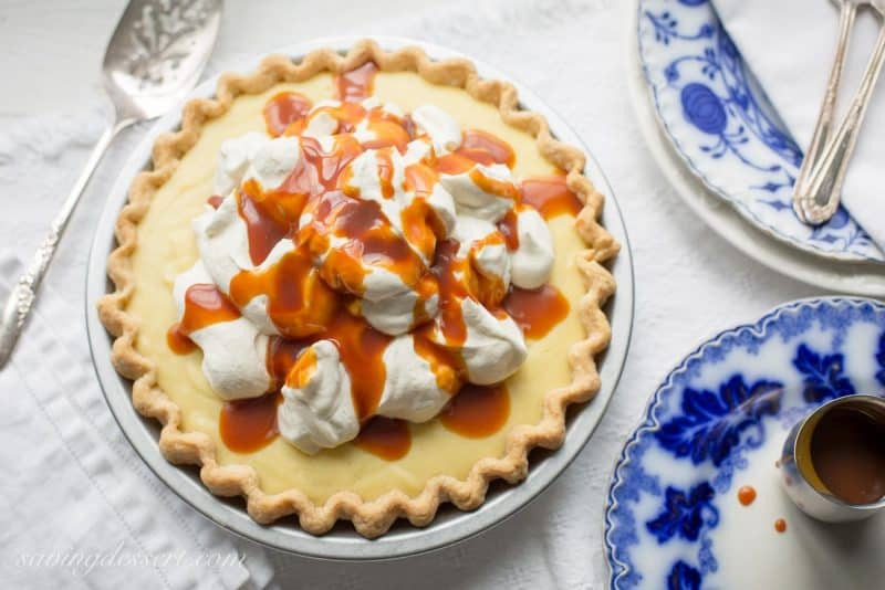 Vanilla Cream Caramel Pie with Bourbon Caramel Sauce