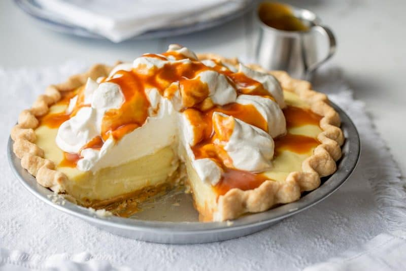 Vanilla Cream Caramel Pie with Bourbon Caramel Sauce