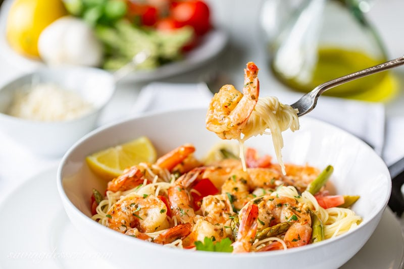 Shrimp Scampi amongst Asparagus together with Tomatoes  Shrimp Scampi amongst Asparagus together with Tomatoes