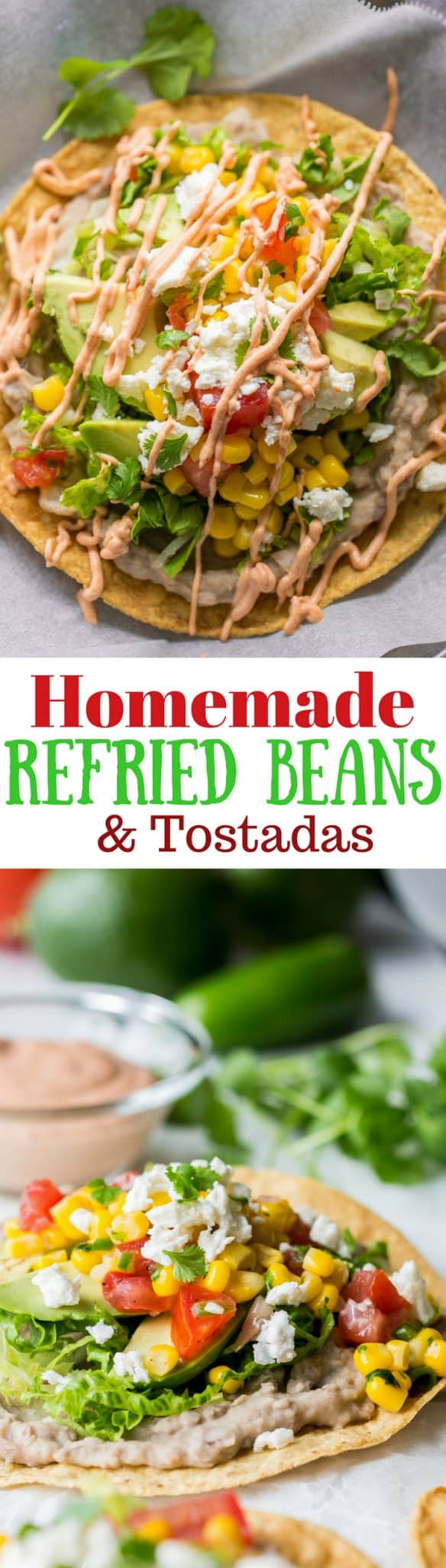 Creamy spicy Homemade Refried Beans. A wonderful side dish or great base for tacos, burritos, quesadillas, nachos or tostadas. www.savingdessert.com