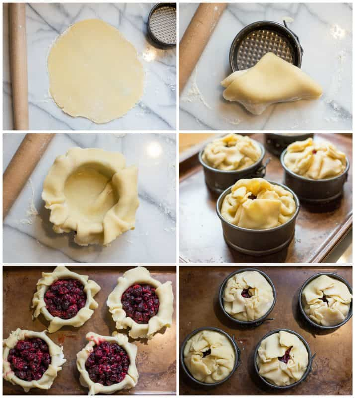A collage of photos showing the process of making mini berry pies