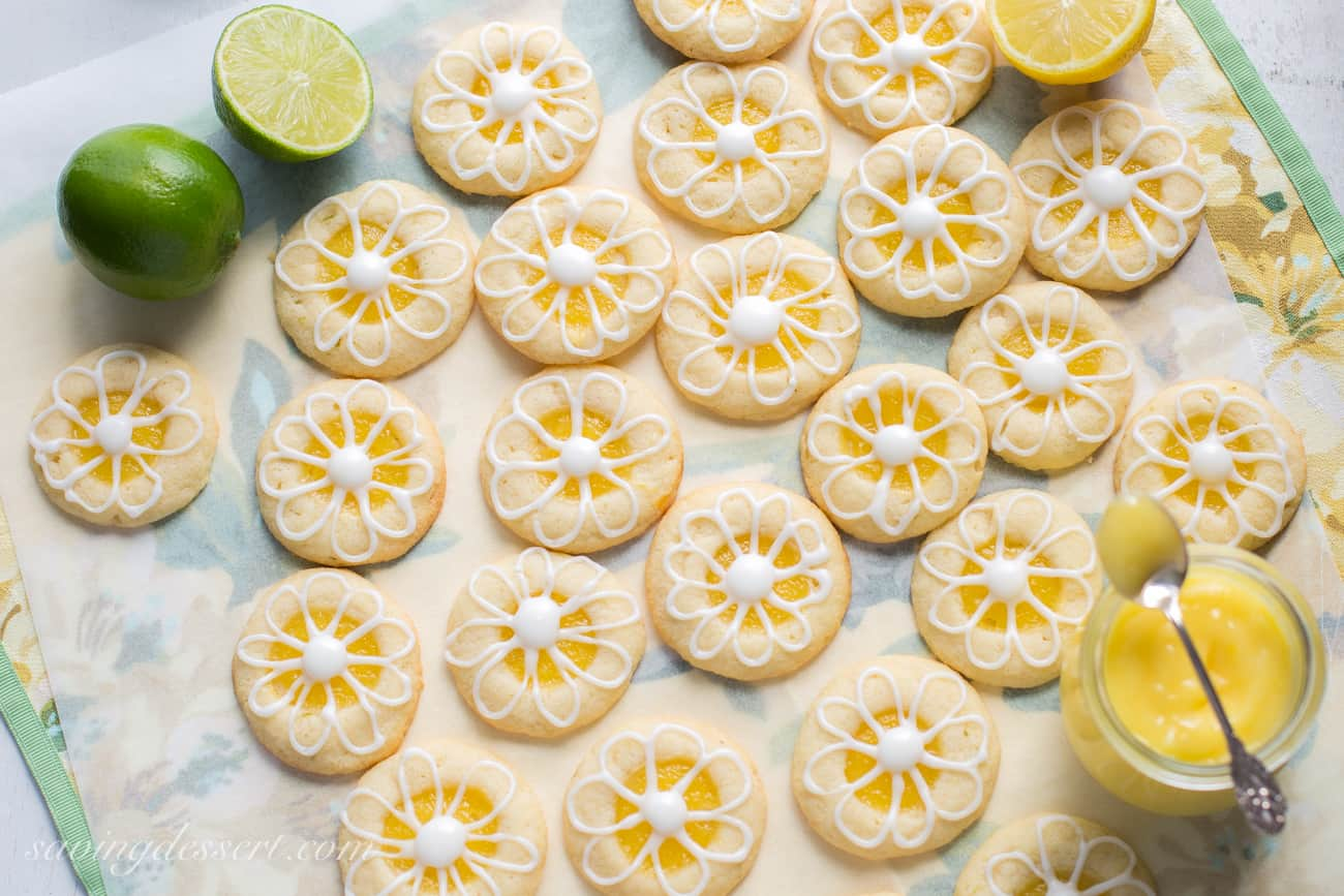 Lemon-Lime Shortbread Thumbprint Cookies - Saving Room for Dessert