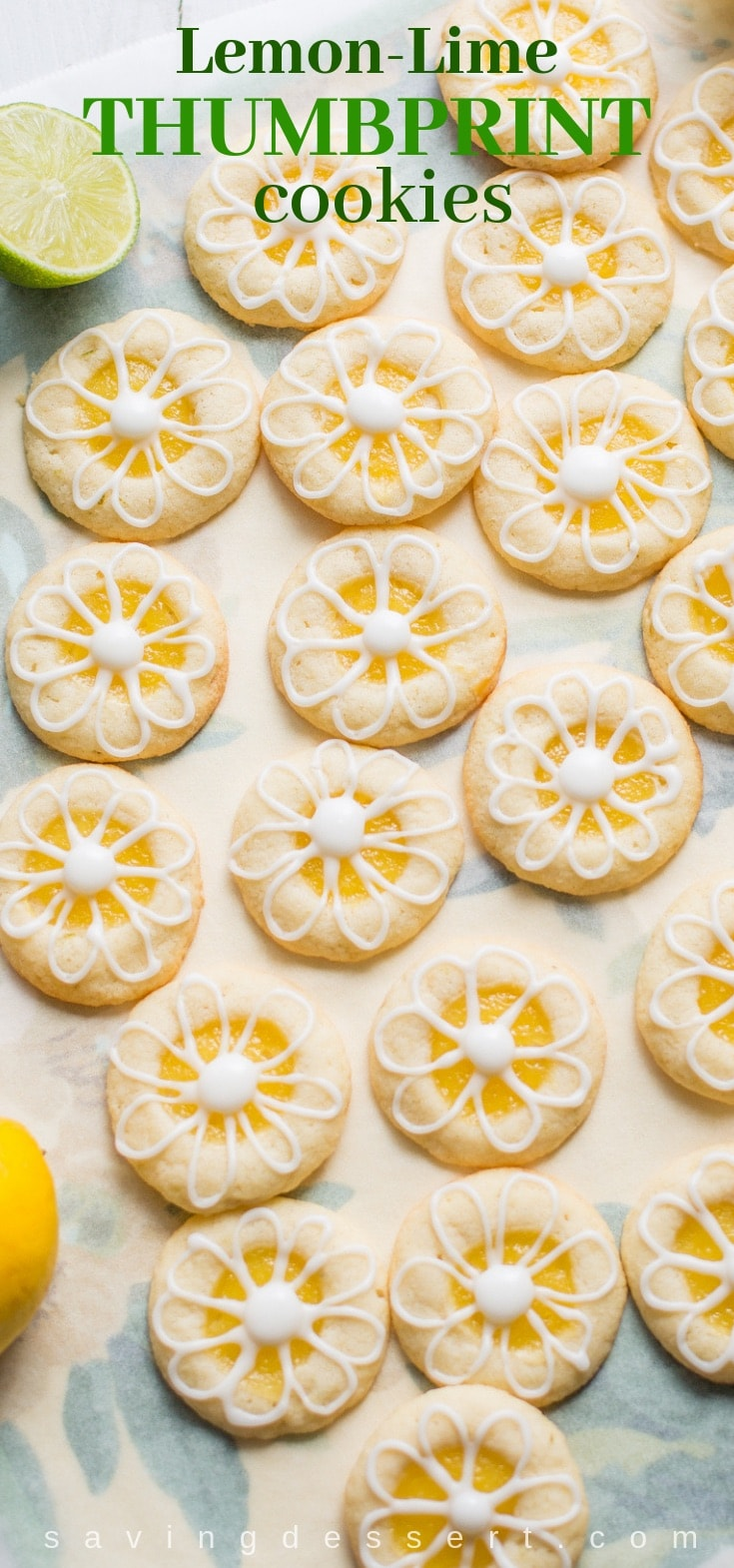 Lemon-Lime Shortbread Thumbprint Cookies filled with homemade Lemon Curd and topped with a simple Lime Icing #thumbprint #cookie #lemonlimecookies #lemoncookies #limecookies #baking #thumbprintcookies