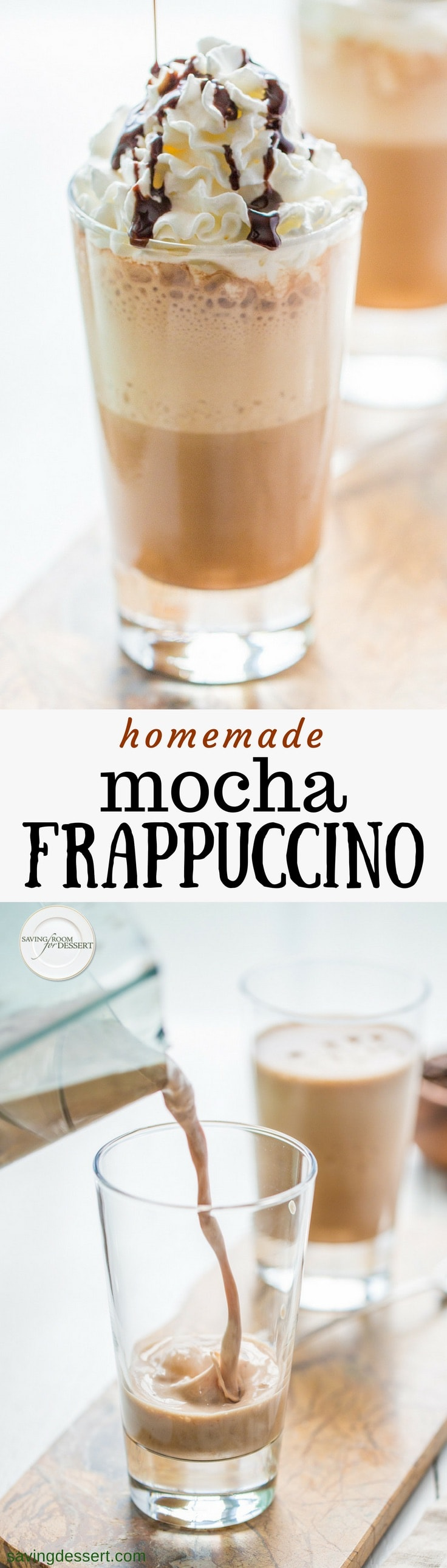 Cool and creamy, Homemade Mocha Frappuccino is a simple summertime treat made with just a few ingredients. Inexpensive and delicious! #savingroomfordessert #mocha #frappuccino #mochafrappuccino #coffee #frozencoffee