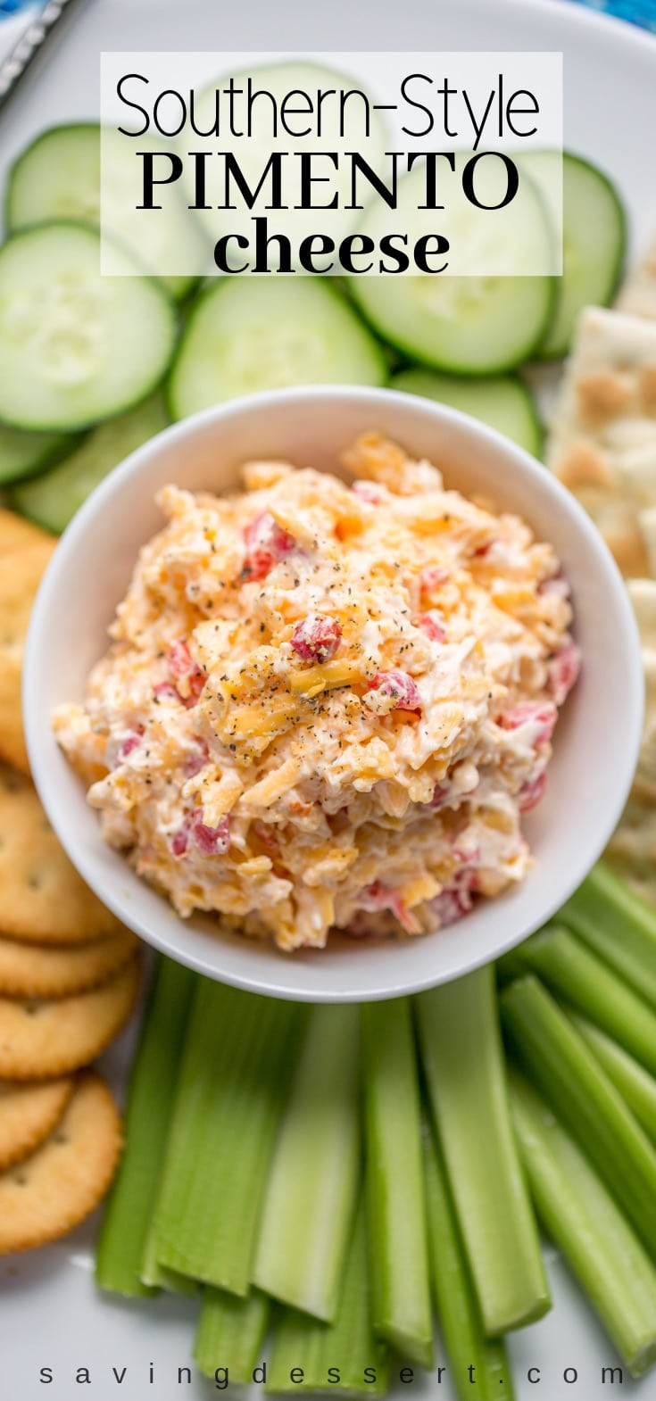 Southern-Style Pimento Cheese spread ... the quintessential southern food. #pimentocheese #cheesespread #cheddarcheese #southernstyle