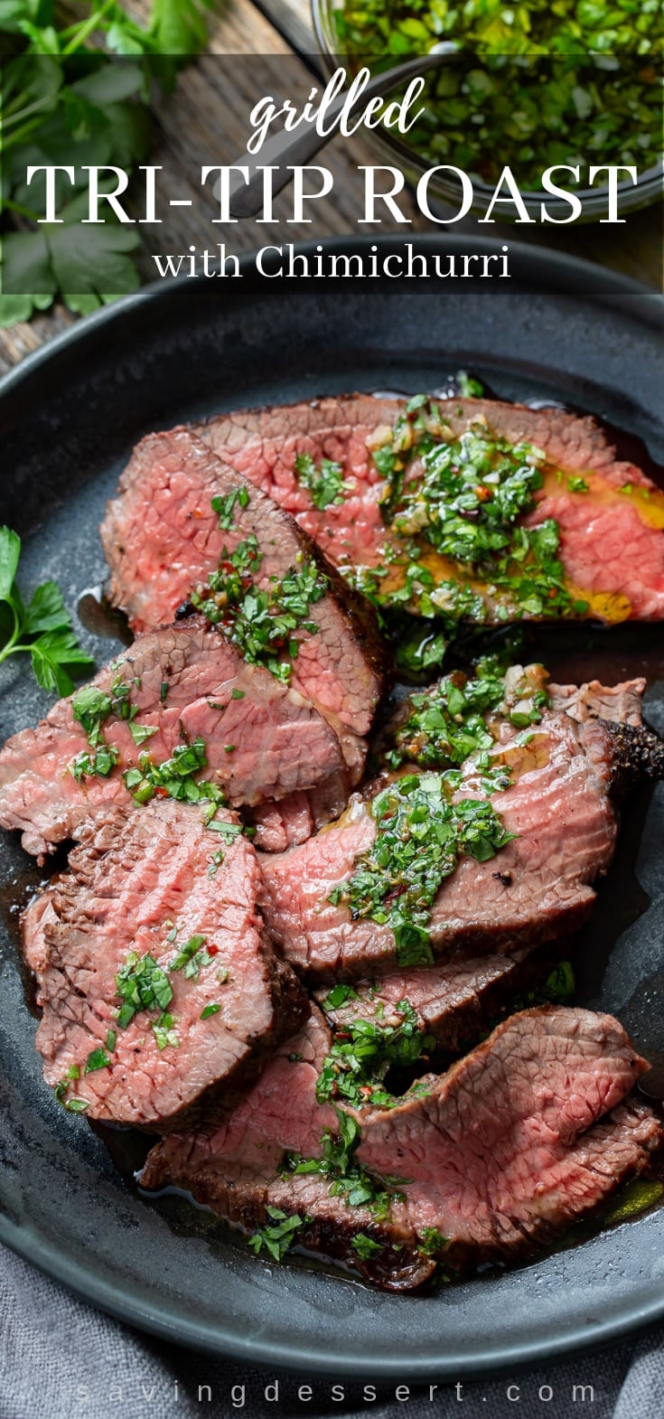A plate with sliced grilled Tri-Tip Roast and chimichurri sauce