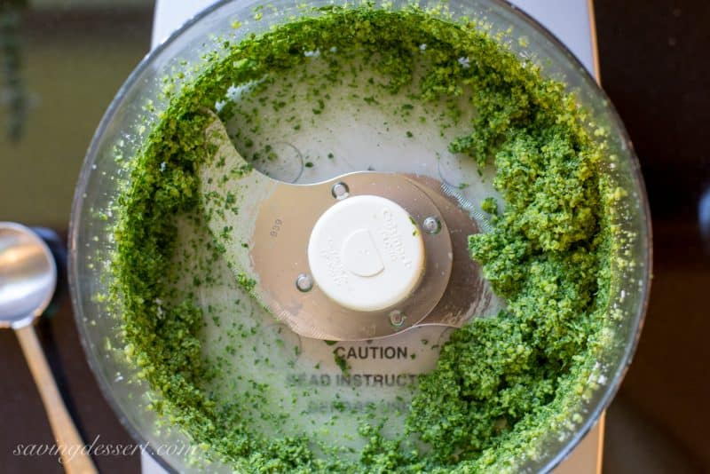 Garden Fresh ~ Basil Pesto ~ perfect tossed with pasta, spread on a sandwich or slice of crusty bread, or dolloped on chicken or fish | www.savingdessert.com