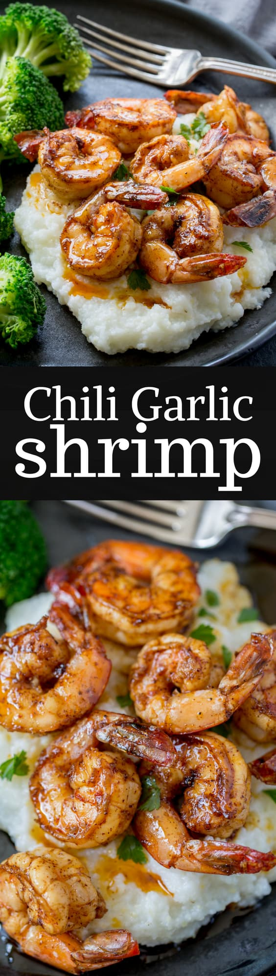 "Chili Garlic Shrimp - from ""The Weeknight Dinner Cookbook"" - a delicious, flavorful shrimp that is on the table in minutes!  www.savingdessert.com"