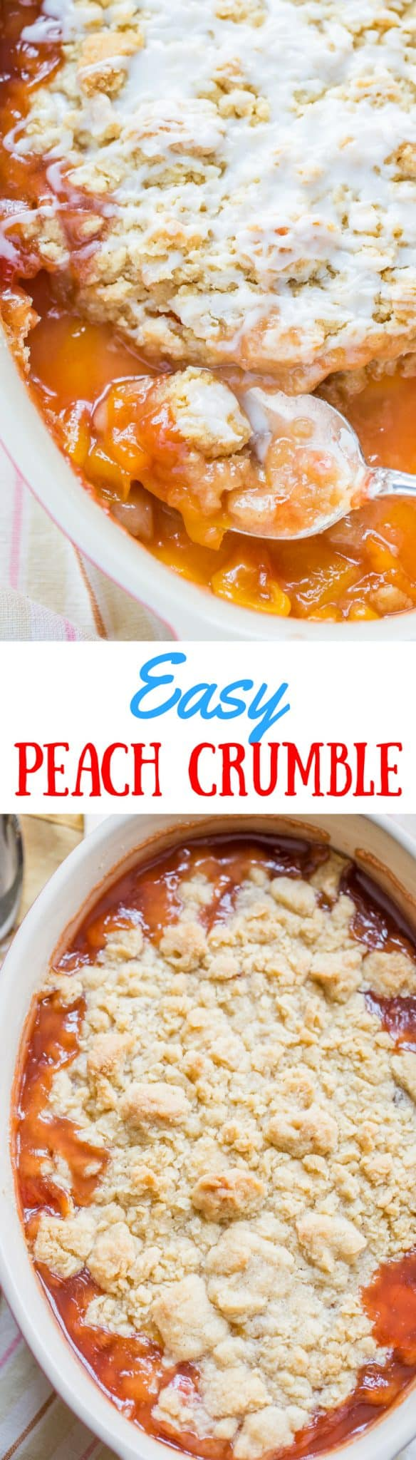 A collage of photos of a peach crumble