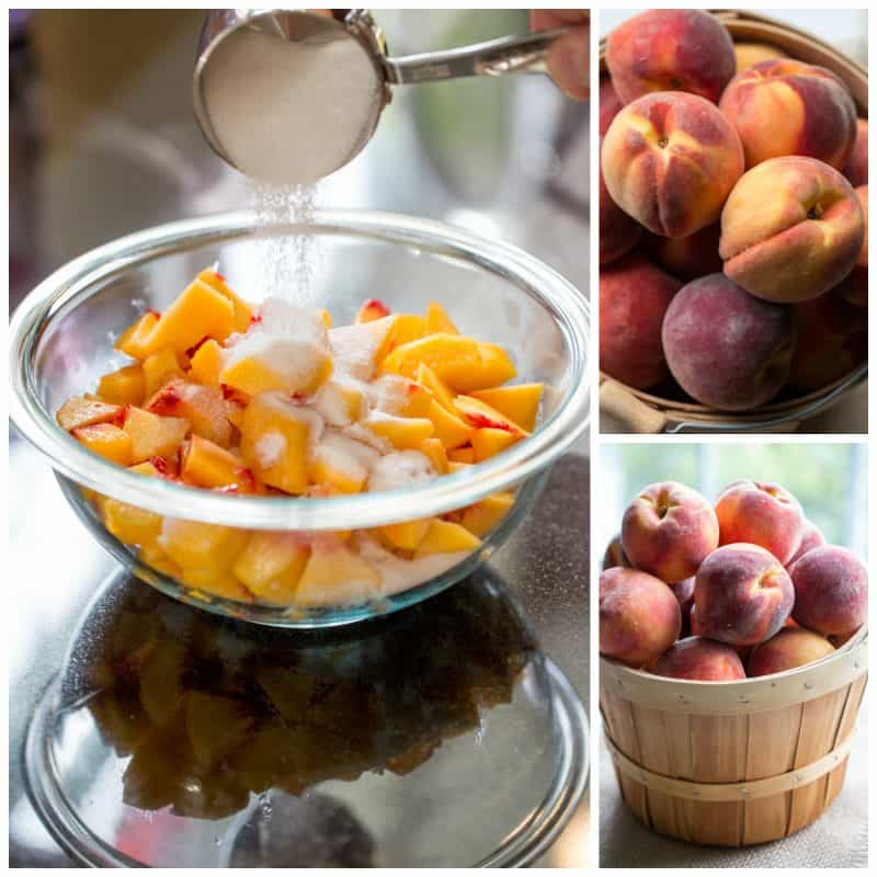 A collage of photos with fresh peaches and chopped peached sprinkled with sugar