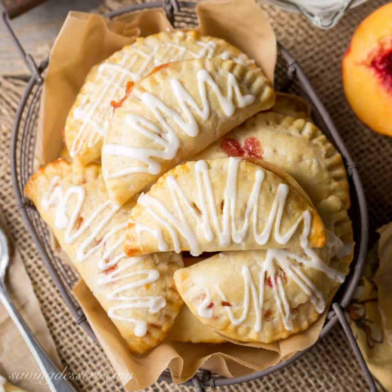 Peach Hand Pies with an icing drizzle