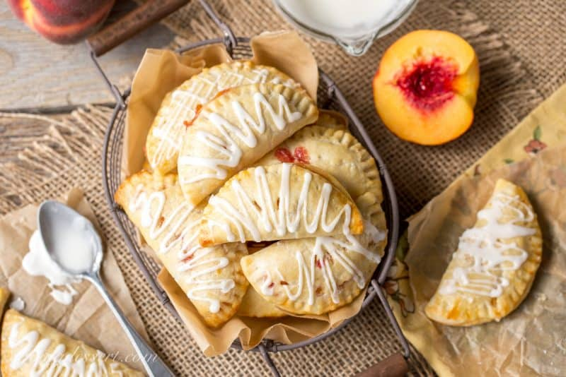 Peach Hand Pies in a basket