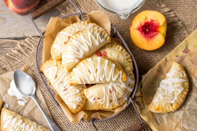 Peach Hand Pies in a basket