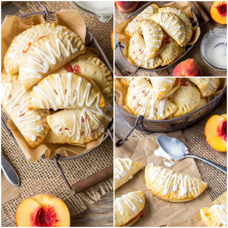 A collage of photos showing Peach Hand Pies in a basket and served with a drizzle of icing