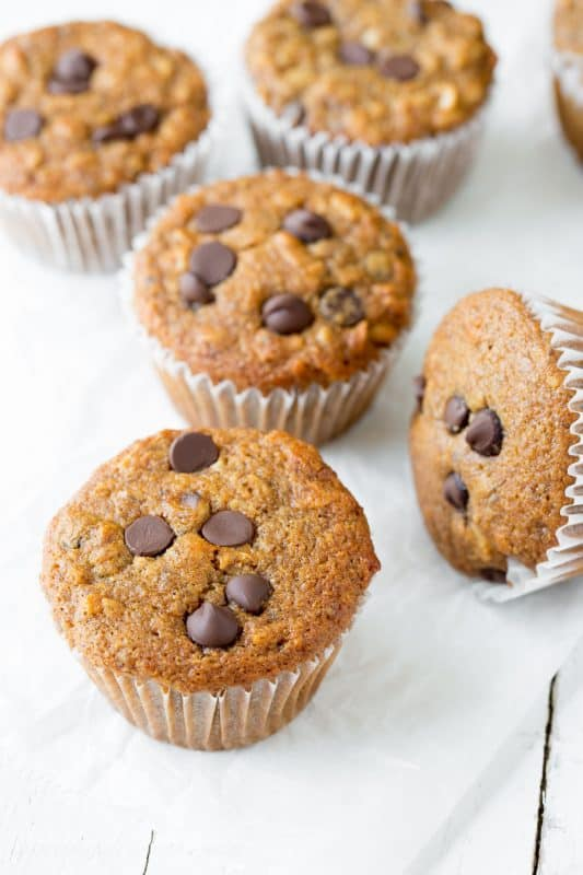 Super Healthy Dark Chocolate Chip Banana Muffins | www.savingdessert.com
