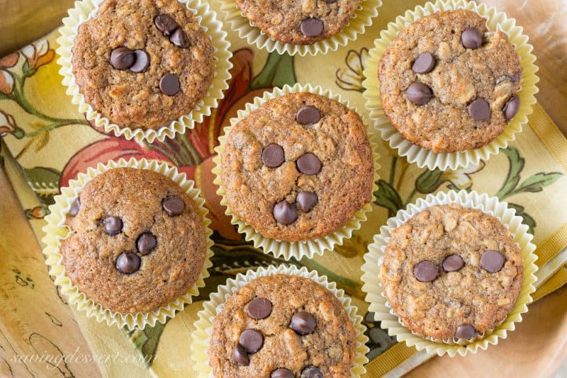 Super Healthy Chocolate Chip Banana Muffin Recipe   www.savingdessert.com