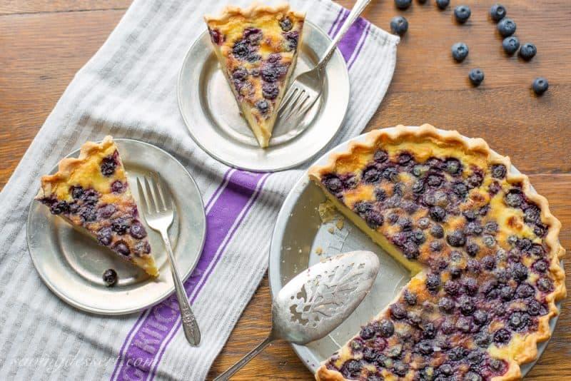 Sliced Blueberry buttermilk pie
