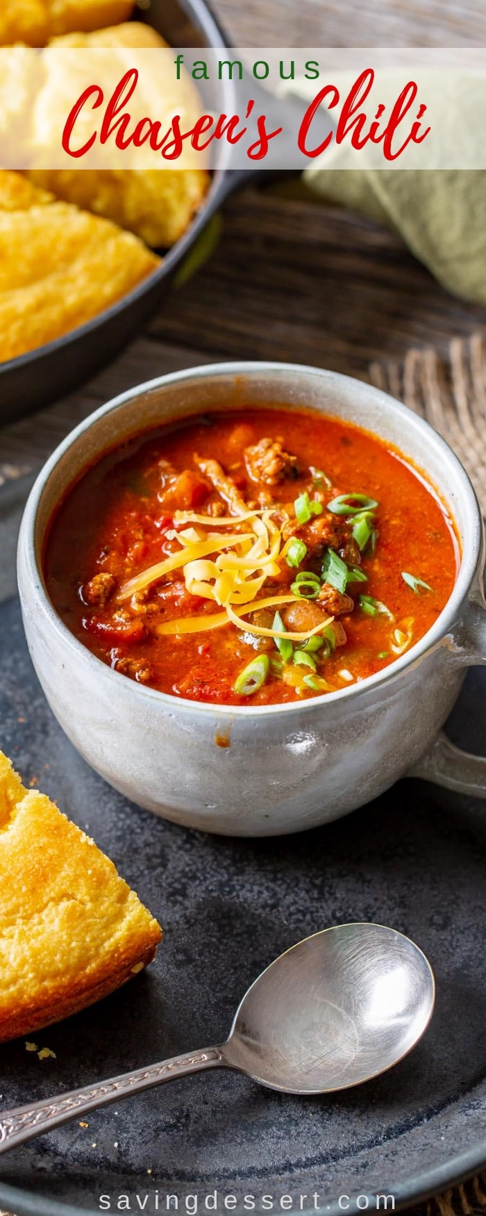 FAMOUS Chasen's Chili - adapted from the famous Chasen's Hollywood restaurant recipe which was a favorite with actors including Elizabeth Taylor and Richard Burton. A delicious meaty chili that freezes well too! #savingroomfordessert #chili #chasenschili #meatychili #heartychili #beef #famouschili