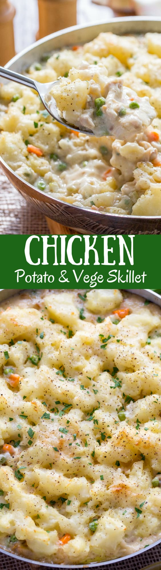 Skillet Chicken with Potatoes & Vegetables ~ comfort at it's best! A creamy sauce that reminds me of a pot pie with tender vegetables, and chunks of chicken topped with fluffy potatoes just like Shepherd's Pie! www.savingdessert.com