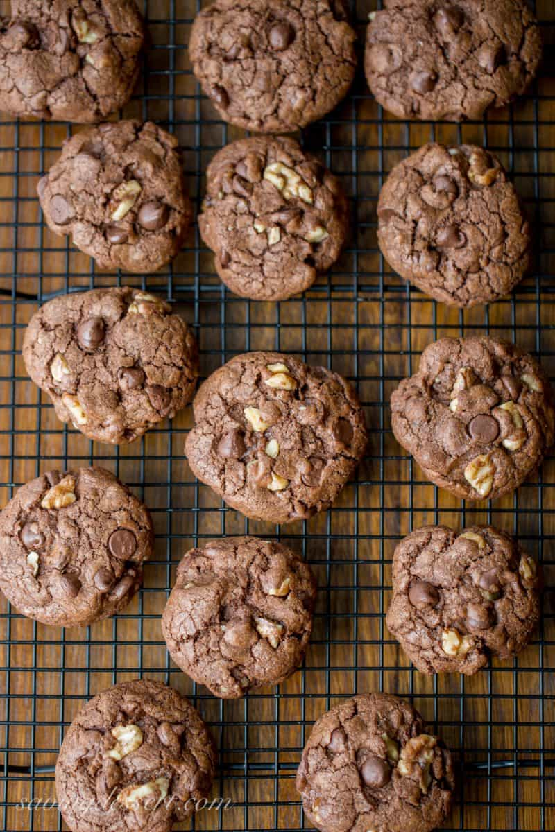 Thick and chewy Chocolate Chocolate-Chip Walnut Cookies have crispy edges, a soft almost brownie-like middle, and are loaded with big chunks of walnuts. www.savingdessert.com