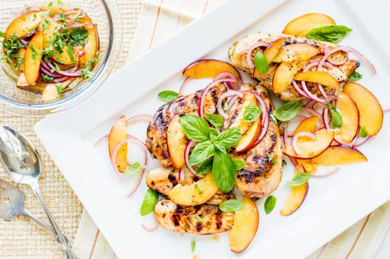 Grilled Chicken with Nectarines, Onions and Basil - think fresh fruit salsa on juicy grilled chicken!