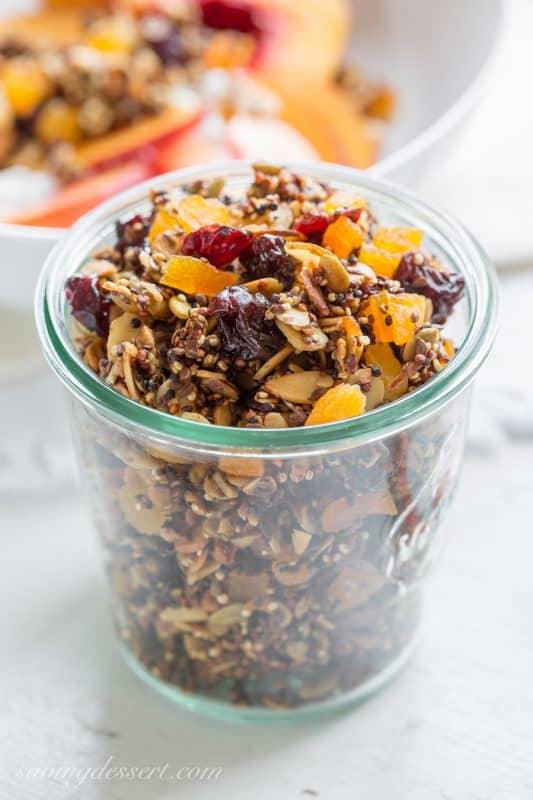 Quinoa Granola with oats, almonds, pepitas and dried fruit | www.savingdessert.com