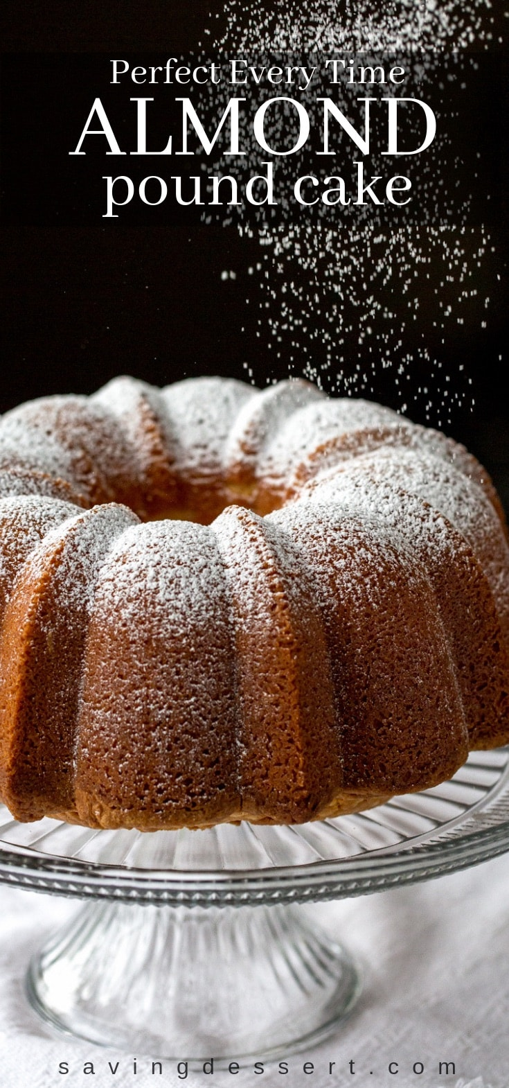 Pound cake sprinkled with powdered sugar