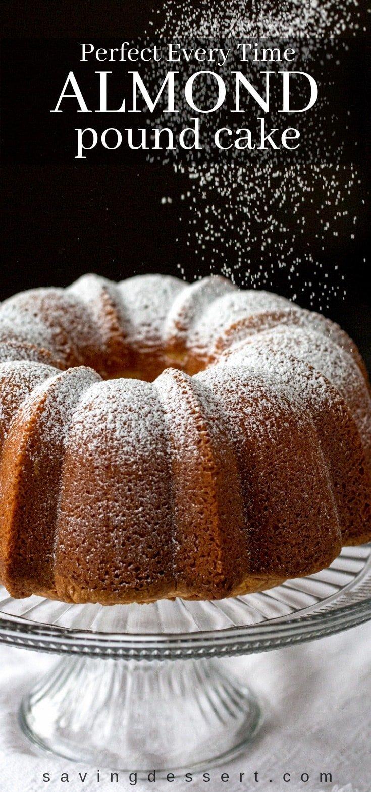 Pound cake sprinkled with powdered sugar
