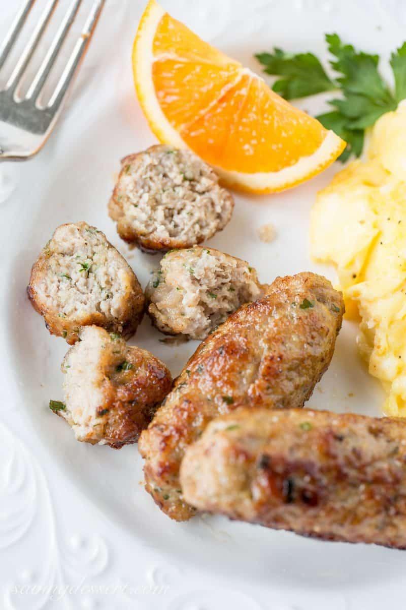 A plate with homemade pork sausage links