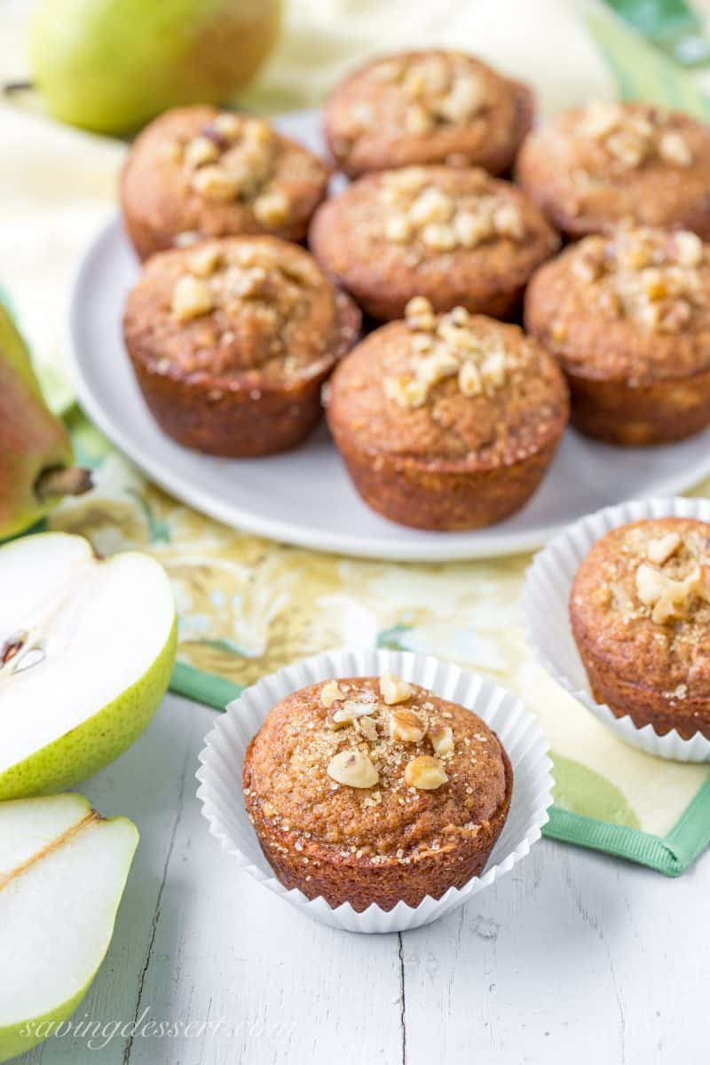 Pear Walnut and Cardamom muffins
