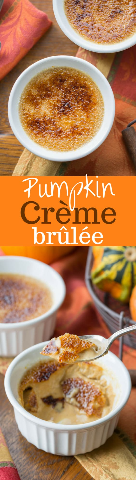 Pumpkin Crème Brûlée ~ a classic dessert turned into a delightful pumpkin treat. This easy recipe for two can be doubled or tripled as needed for a make ahead dessert that will thrill your guests! www.savingdessert.com