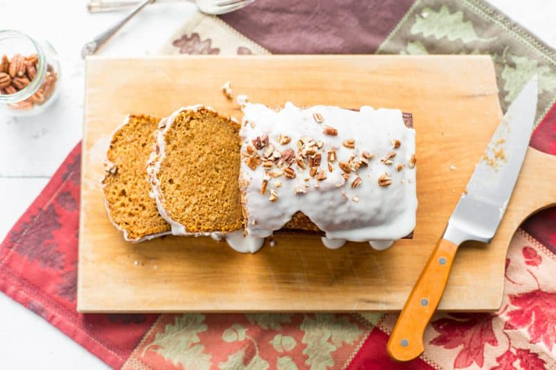 Pumpkin Loaf Cake - a richly spiced loaf cake with a moist and light texture that holds together beautifully. The fragrant spices are warm and sweet, and the easy to make recipe yields consistent, delicious results. www.savingdessert.com