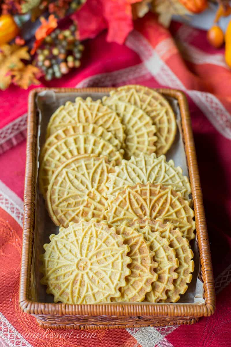 Pumpkin Spiced Pizzelles in a basket