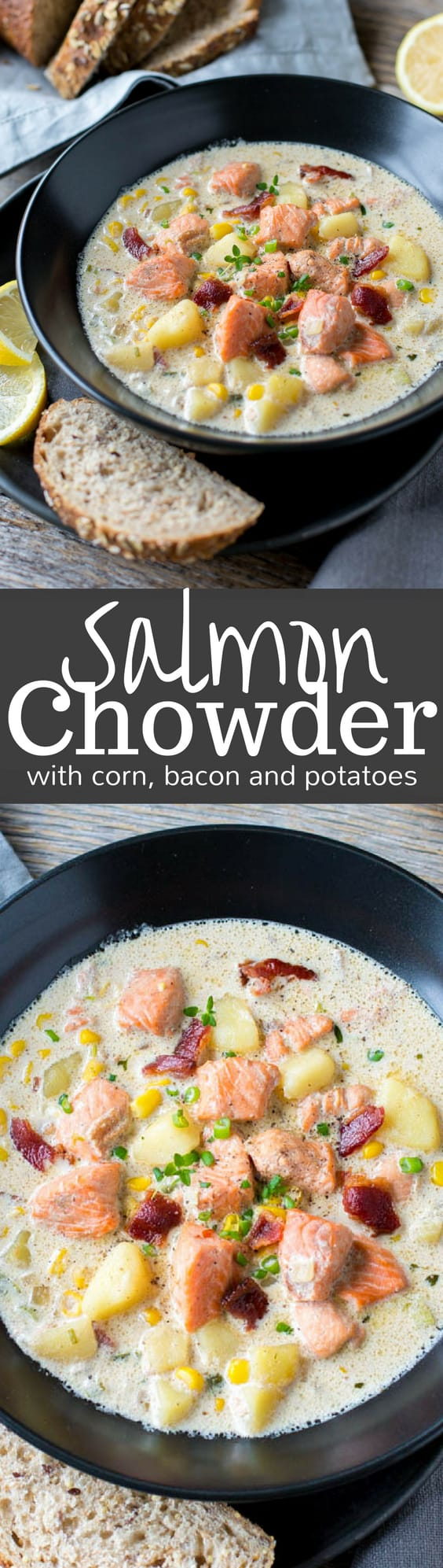 Salmon Chowder with potatoes, bacon and corn - an incredible soup that's richly satisfying, hearty, surprisingly filling and not at all fishy! www.savingdessert.com