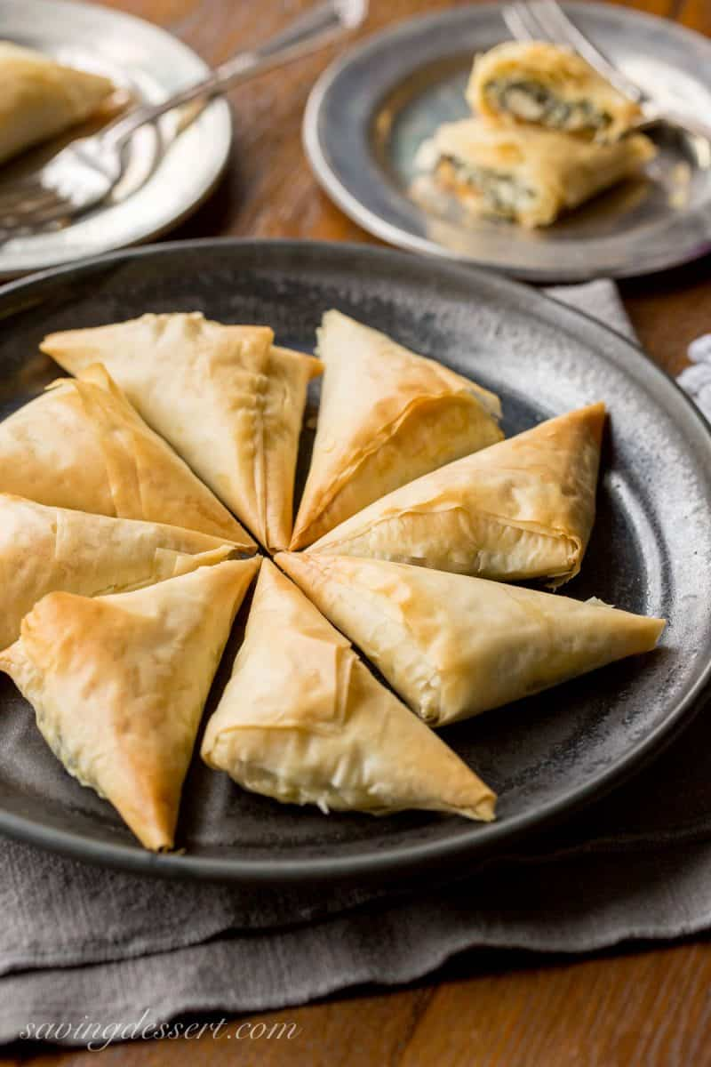 A plate of individual spanokapita triangles