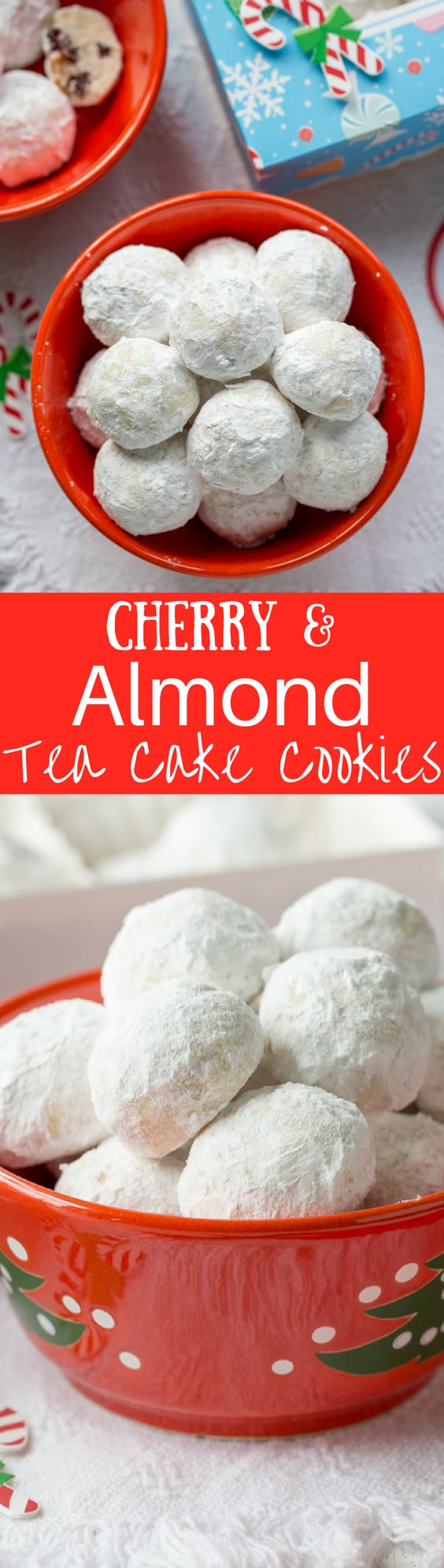 Cherry Almond Tea Cake Cookies ~ a tender bite-sized cookie loaded with almond flavor and little pieces of dried sour cherries. An easy and delicious cookie for your holiday baking! www.savingdessert.com