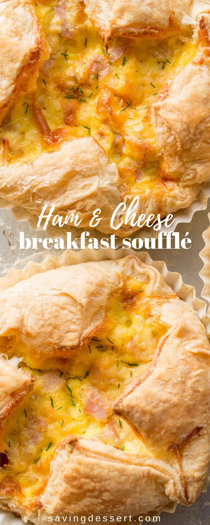 Ham & Cheese Breakfast Soufflé - loaded with smoked Gouda, ham, eggs and Parmesan all wrapped up in a puff pastry shell. #savingroomfordessert #ham&cheese #breakfast #brunch #souffle #breakfastsouffle