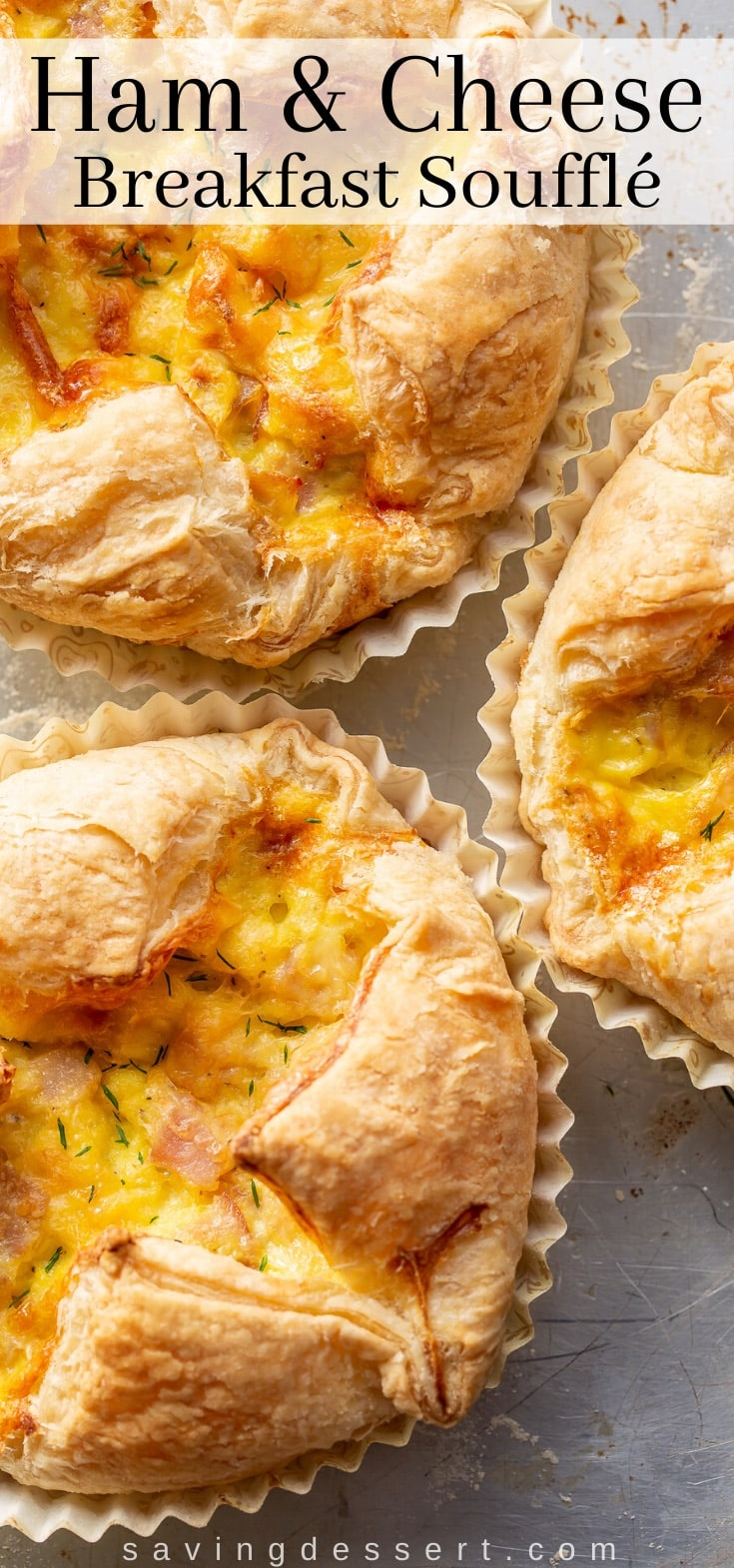 Ham & Cheese Breakfast Soufflés in paper wrappers