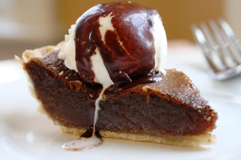 Fudge Pie - not too sweet with a mild chocolate flavor and a texture similar to pecan pie ... without the pecans www.savingdessert.com