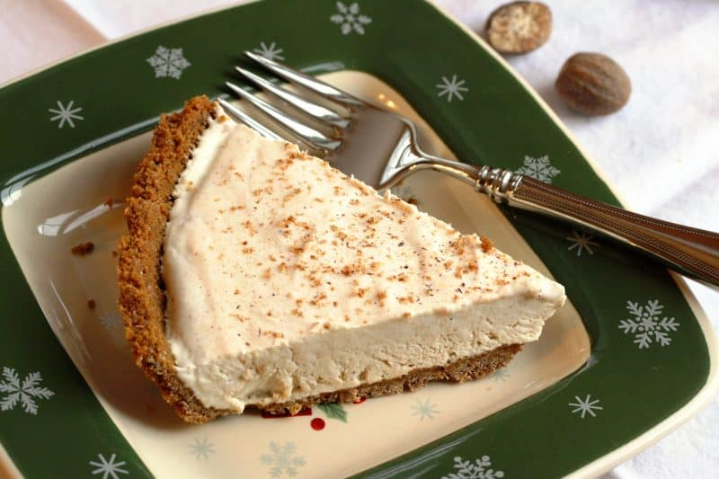 Egg Nog Pie with a Ginger Snap Crust ~ light and delicious and tastes like the holidays www.savingdessert.com