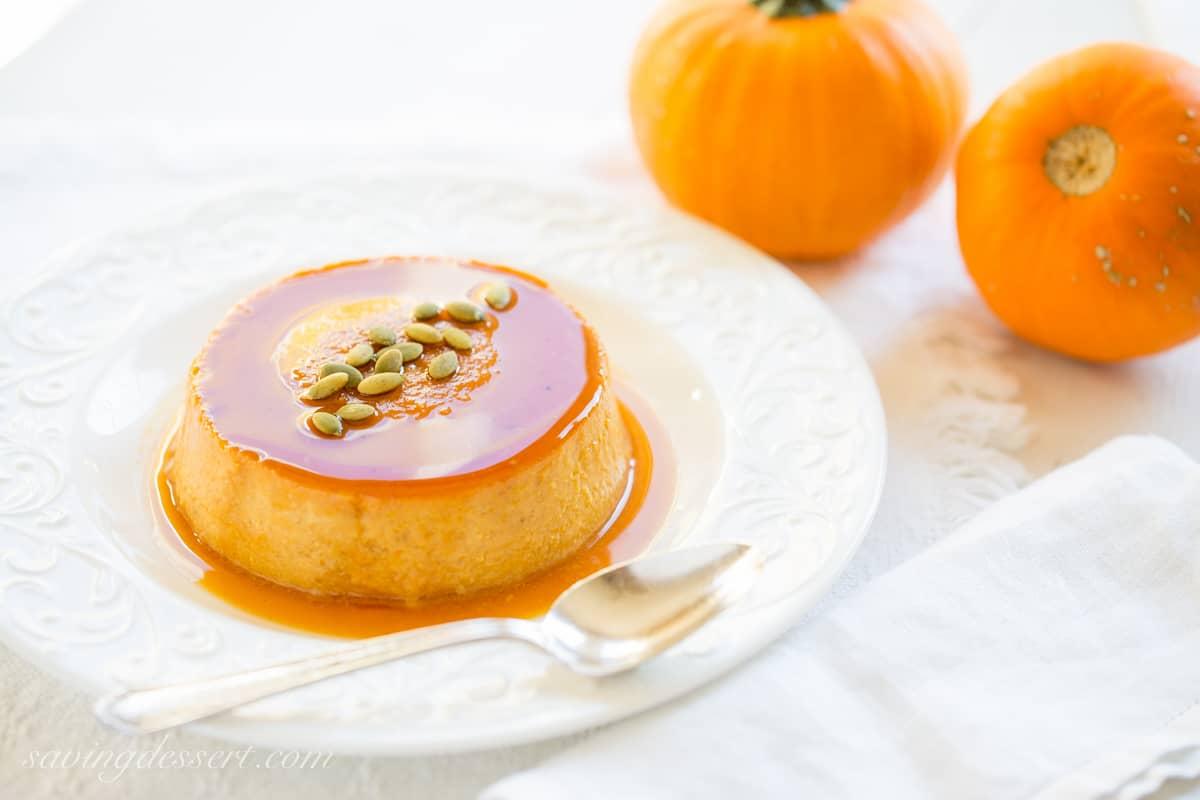 Pumpkin Caramel Flan - Saving Room for Dessert