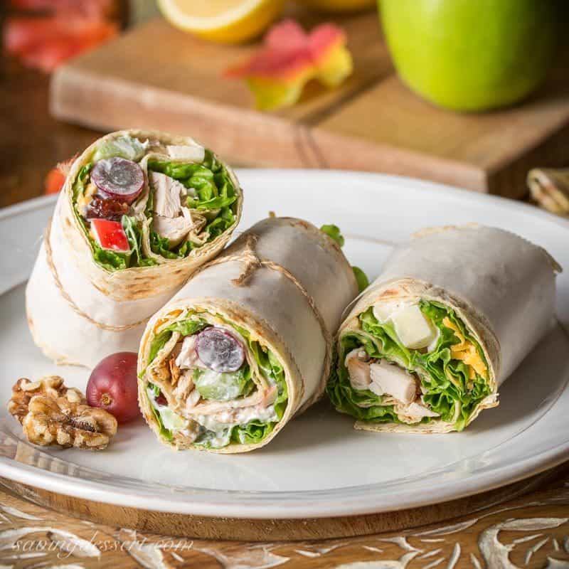 ... turkey, shredded cheese and a light, fruity Waldorf Salad rolled up in
